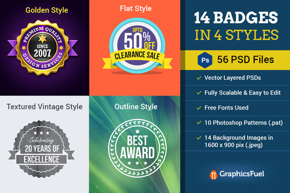 14 Badges In 4 Styles-56 PSDs 25%Off
