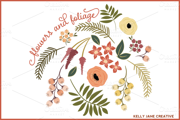 Flowers Foliage For Fall Vector