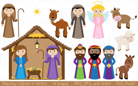 Christmas Nativity Clipart Vectors