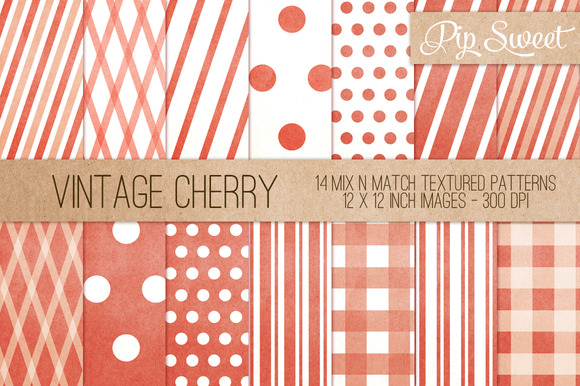 Vintage Cherry 14 Pattern Set