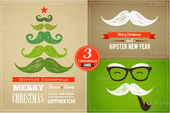 Set Of Hipster Christmas Cards