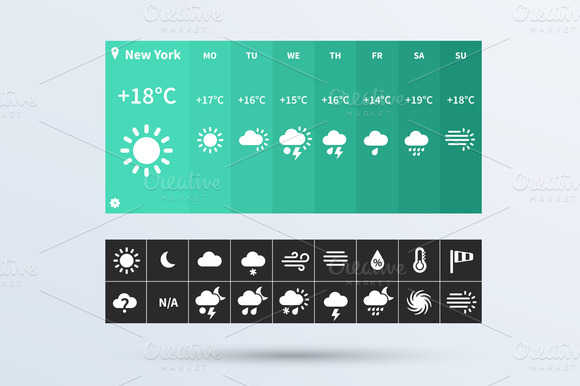 Weather Widget UI Set