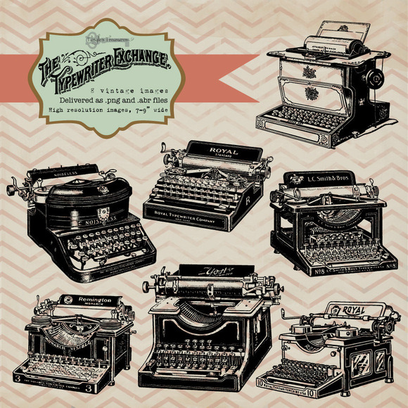 Vintage Typewriter Clipart Brushes