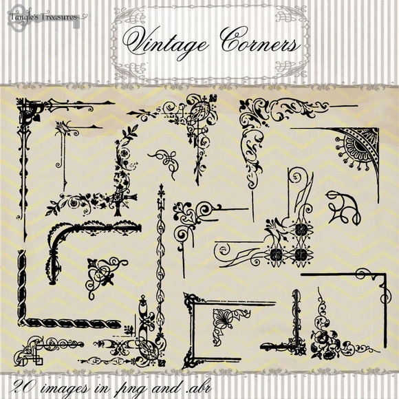 Vintage Corner Clipart Brushes
