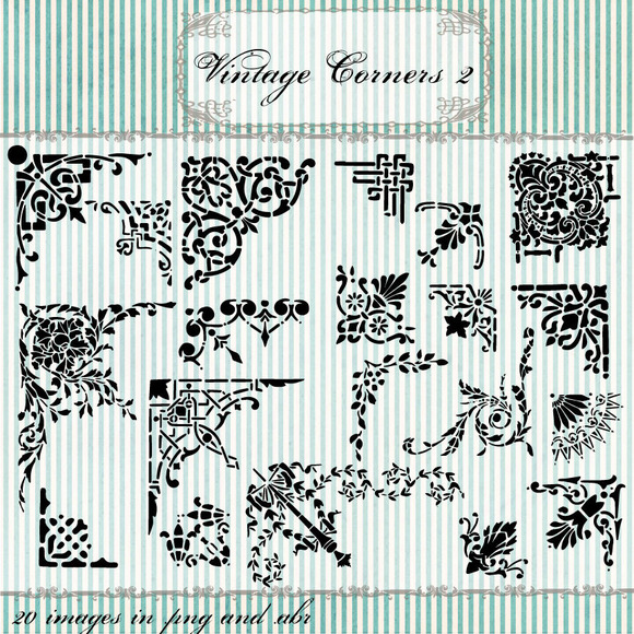 Vintage Corners Clipart Brushes 2