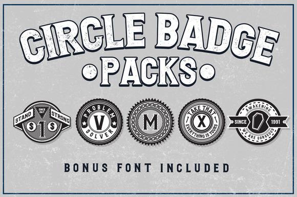 5 Circle Badges Bonus Font