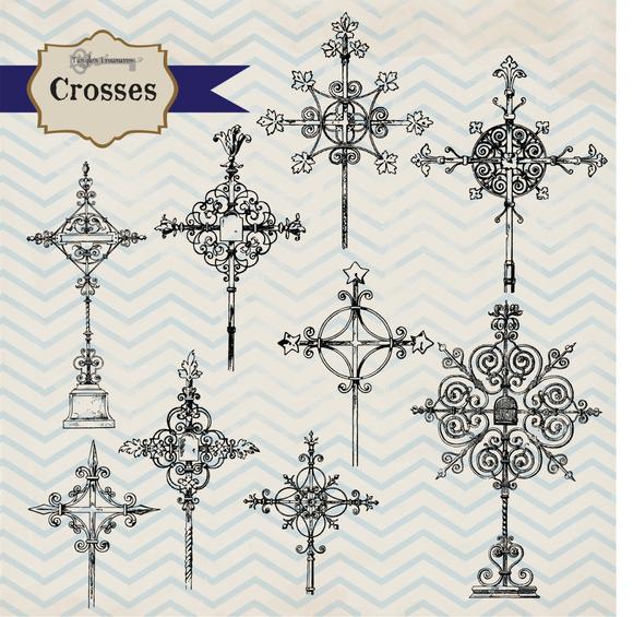 Vintage Crosses Clipart Brushes