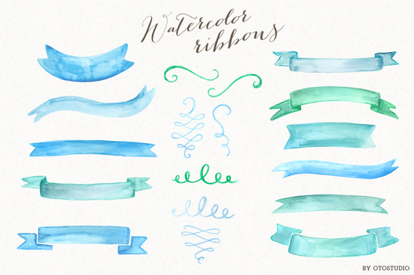 Watercolor Ribbons Ornaments