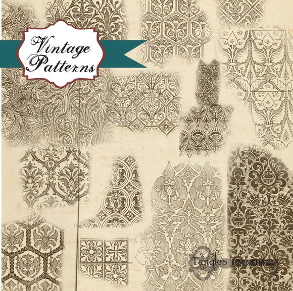 Vintage Patterns Clipart Brushes