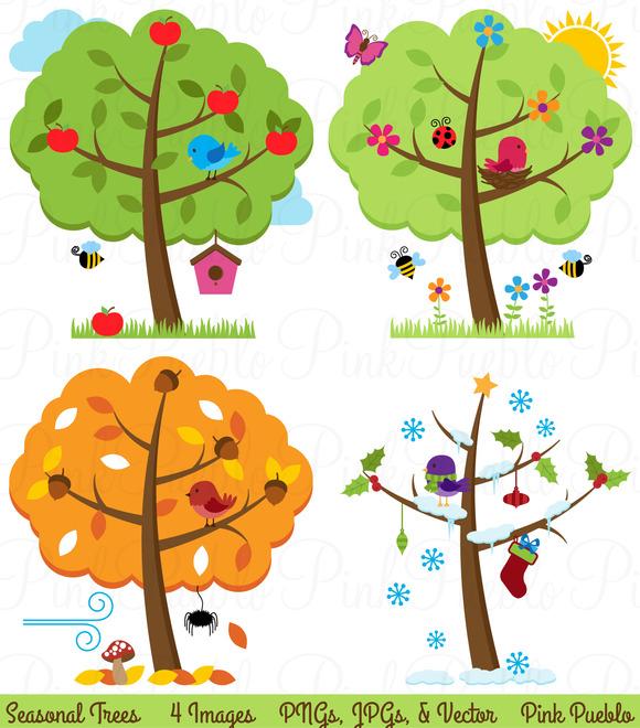 Four Seasons Trees Clipart Vectors
