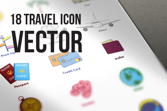 18 Travel Icon Vector Illustration