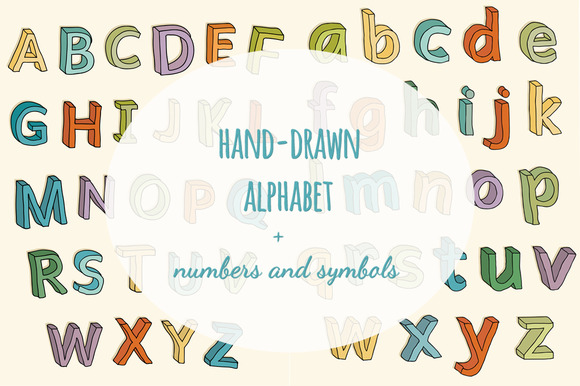 Colorful 3D ABC Numbers And Symbols