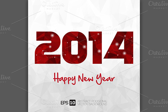 Happy New Year 2014 Polyonal Style
