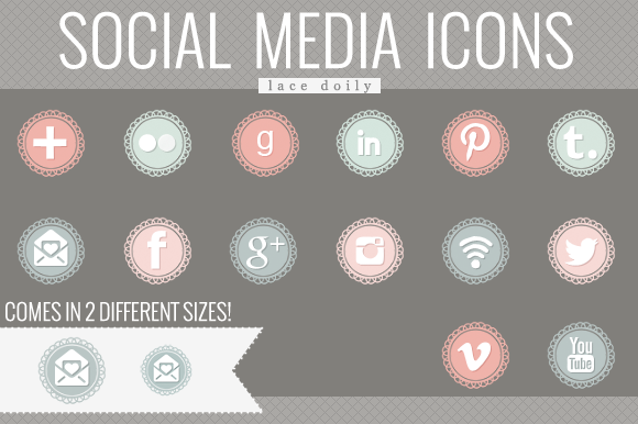 Lace Doily Social Media Icons