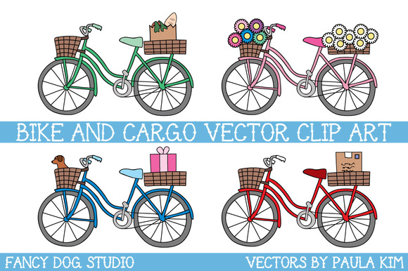 Bikes With Baskets Vector Art