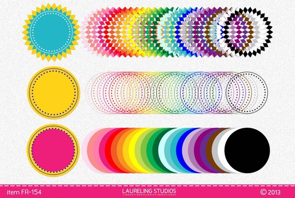 Colorful Digital Clip Art Frames