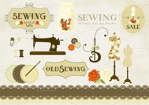 Sewing Clipart Old Style