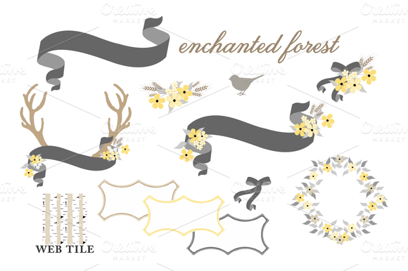 Antlers Flowers Ribbons Vector