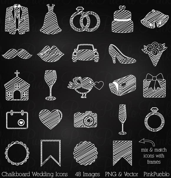 Chalkboard Wedding Icons