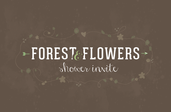 Forest Flowers Shower Invitation