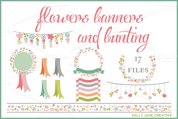 Flowers Ribbons Banners Bunting