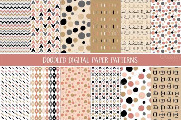 Doodled Patterns In Blush Gold