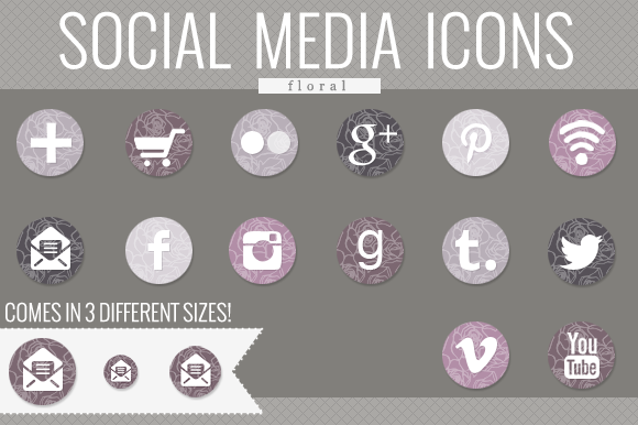 Floral Social Media Icons