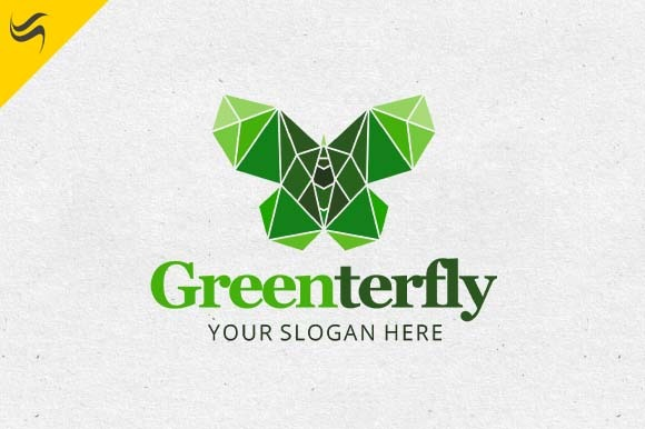 Green Butterfly Logo Template