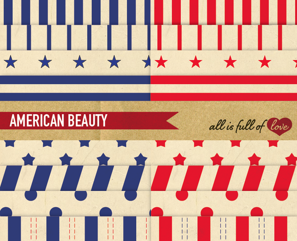 American Beauty Red Blue Patterns