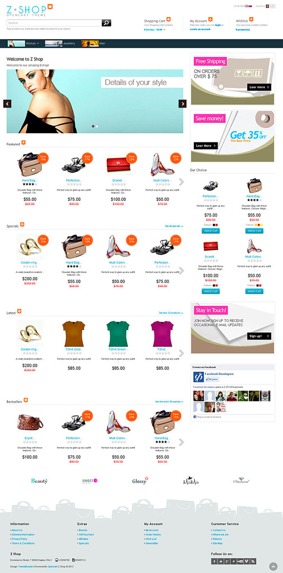 ZShop Responsive Theme For OpenCart