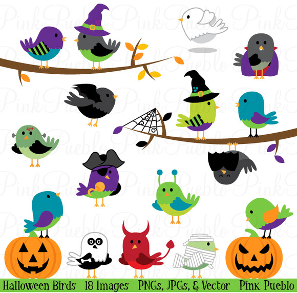 Halloween Birds Clipart Vectors