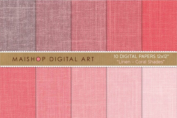Digital Paper-Linen-Coral Shades