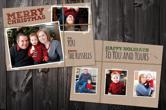 Brown Paper 5x7 Xmas Card Template