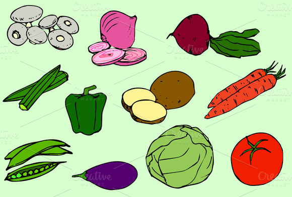 Vegetables Vector Clip Art Icons