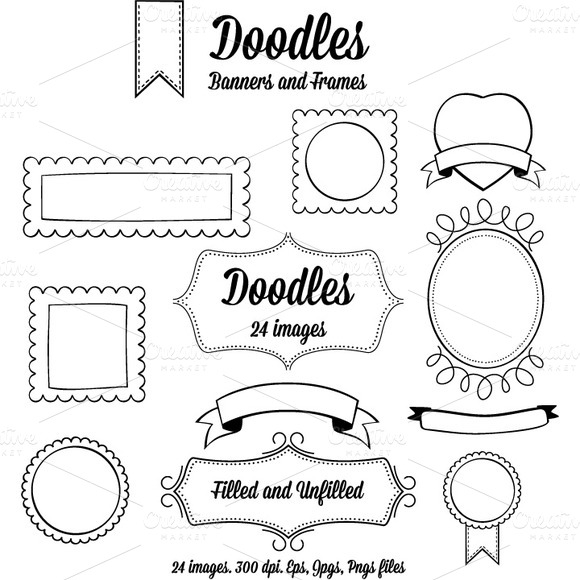 Doodle Banners And Frames