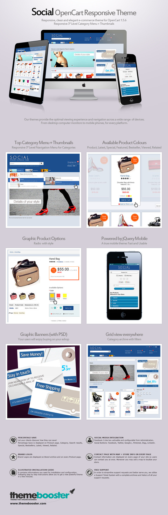 Social Responsive Theme For OpenCart
