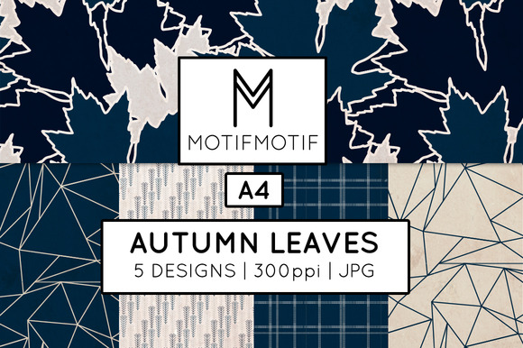 Autumn Leaves In Midnight Navy Blue