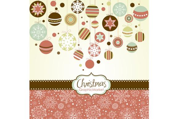 Christmas Clip Art Retro Ornaments