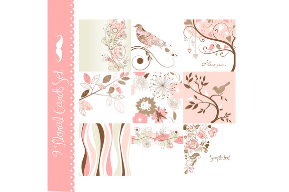 Digital Floral Card Set Of 9 Designs