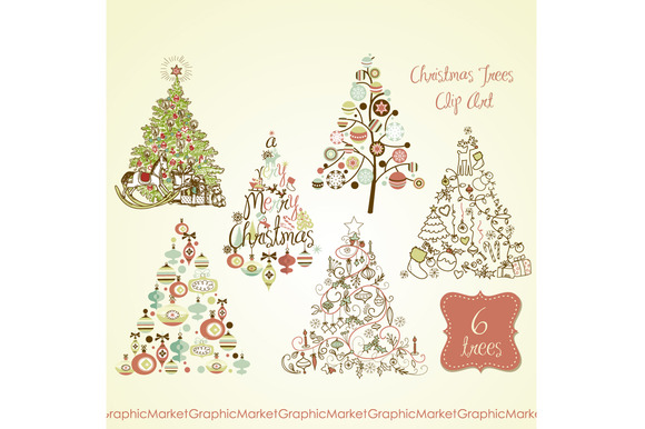 Christmas Tree Retro Clip Art