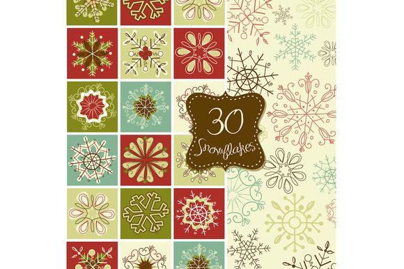 30 Snowflakes Clip Art Christmas