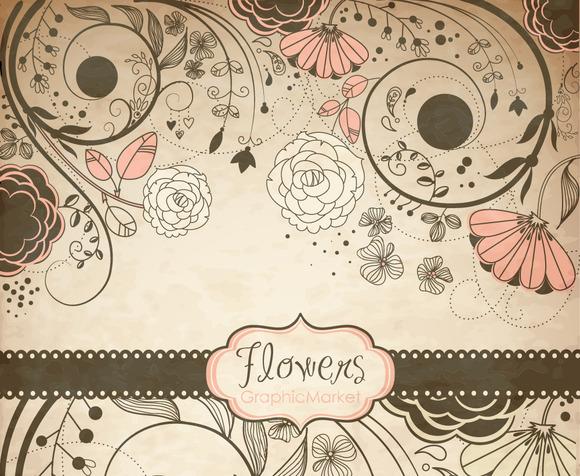 Vintage Flower ClipArt Floral Border