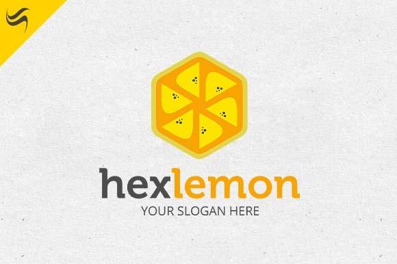 Hex Lemon Fruit Logo Template