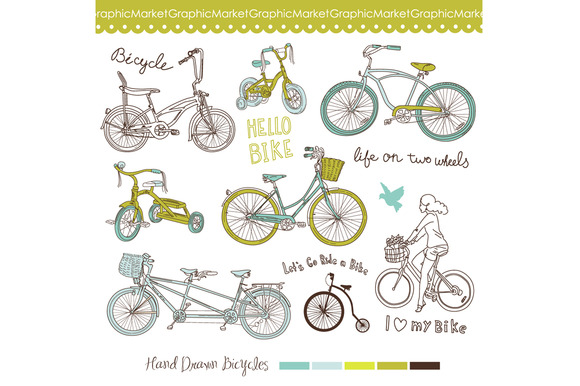 14 Retro Bicycles Clip Art