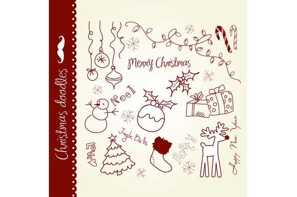 Christmas Doodles Hand Drawn Clipart