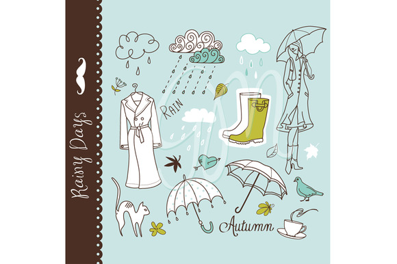 Rainy Day Clip Art Umbrella Doodles