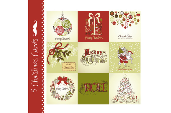 9 Christmas Cards Vintage Style