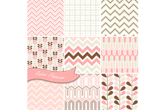9 Retro Chevron Patterns Paper Pack