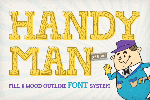 Handyman Font Wood Outline