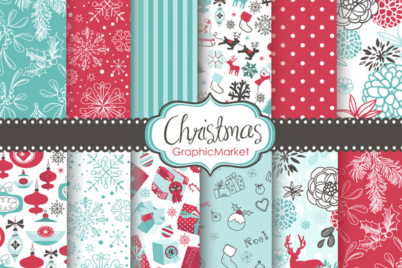 12 Christmas Seamless Backgrounds